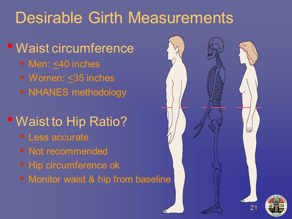 21 Desirable Girth Measurements Waist circumference  Men: <40 inches  Women: <35 inches  NHANES methodology Waist to Hip Ratio.