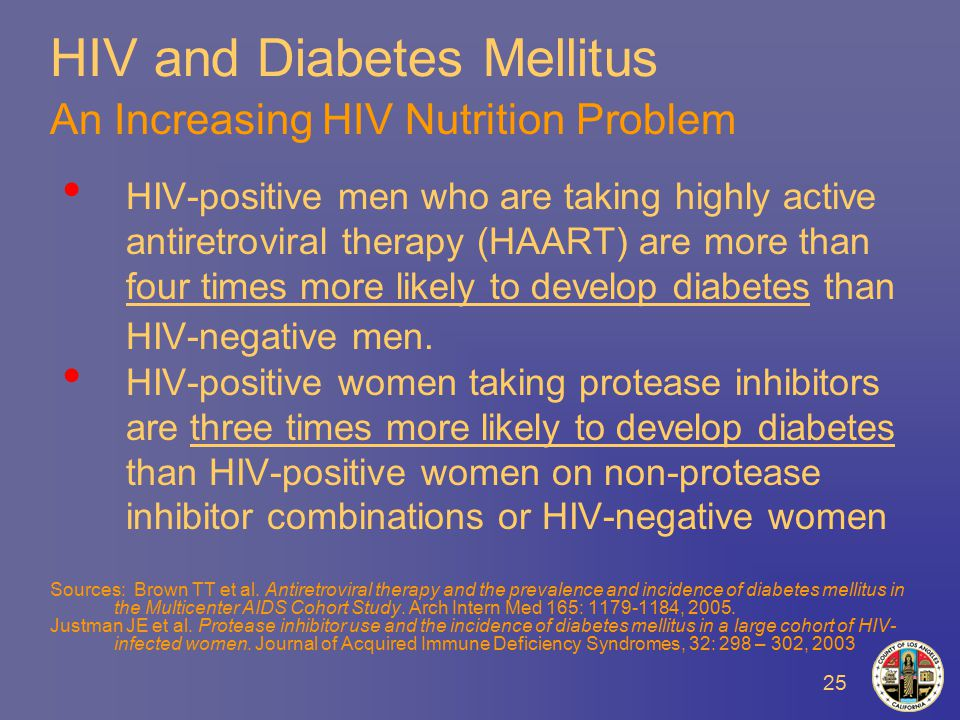 25 HIV and Diabetes Mellitus An Increasing HIV Nutrition Problem HIV-positive men who are taking highly active antiretroviral therapy (HAART) are more than four times more likely to develop diabetes than HIV-negative men.