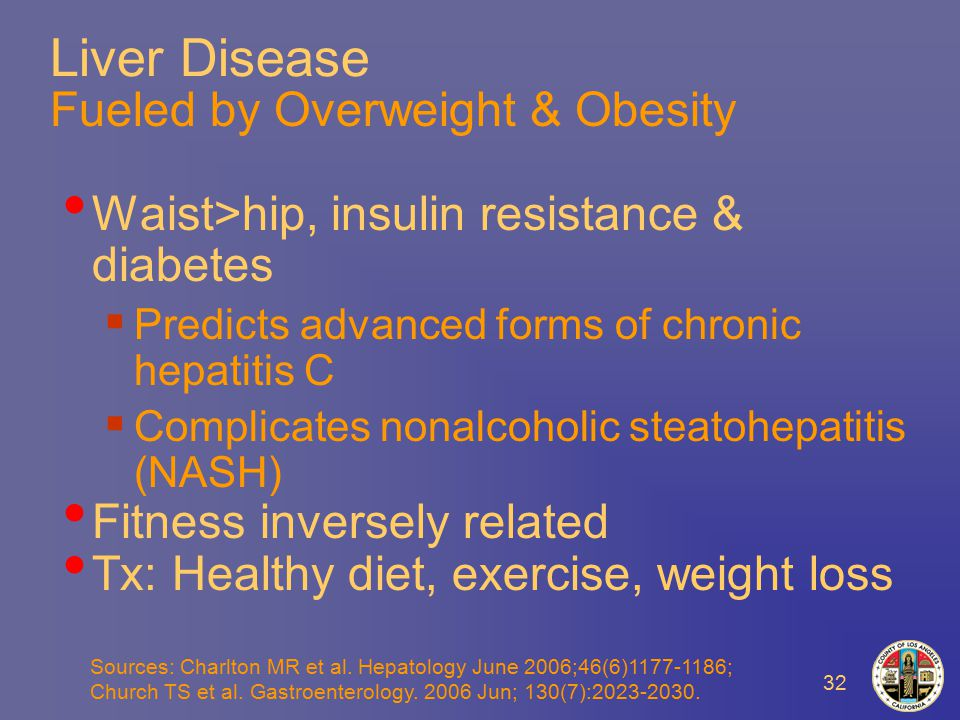32 Liver Disease Fueled by Overweight & Obesity Waist>hip, insulin resistance & diabetes  Predicts advanced forms of chronic hepatitis C  Complicates nonalcoholic steatohepatitis (NASH) Fitness inversely related Tx: Healthy diet, exercise, weight loss Sources: Charlton MR et al.
