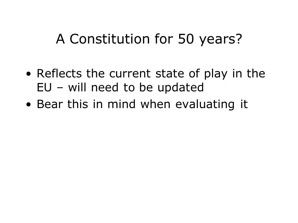 A Constitution for 50 years.
