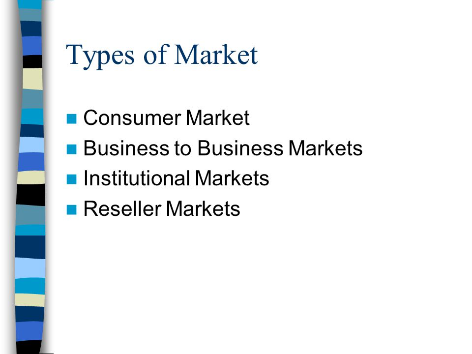 Types of Market Consumer Market Business to Business Markets Institutional Markets Reseller Markets