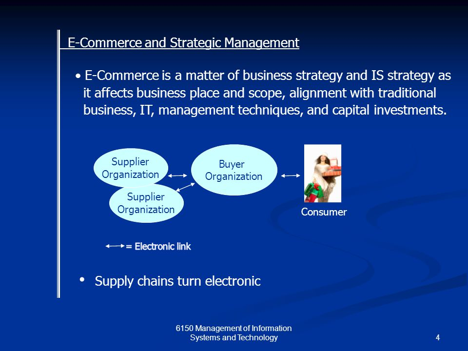 Management of Information Systems and Technology E-Commerce is a matter of business strategy and IS strategy as it affects business place and scope, alignment with traditional business, IT, management techniques, and capital investments.