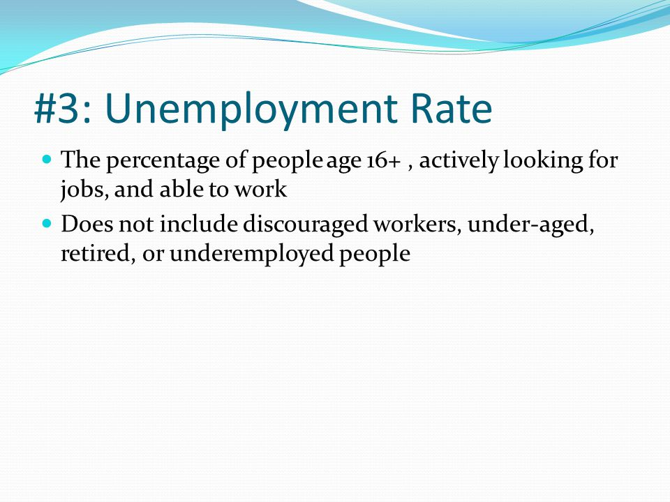 #3: Unemployment Rate The percentage of people age 16+, actively looking for jobs, and able to work Does not include discouraged workers, under-aged, retired, or underemployed people