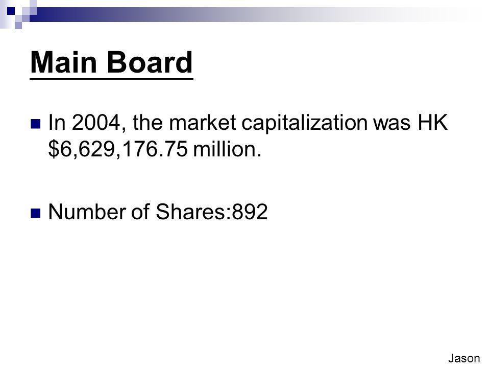 Main Board In 2004, the market capitalization was HK $6,629,176.75 million.