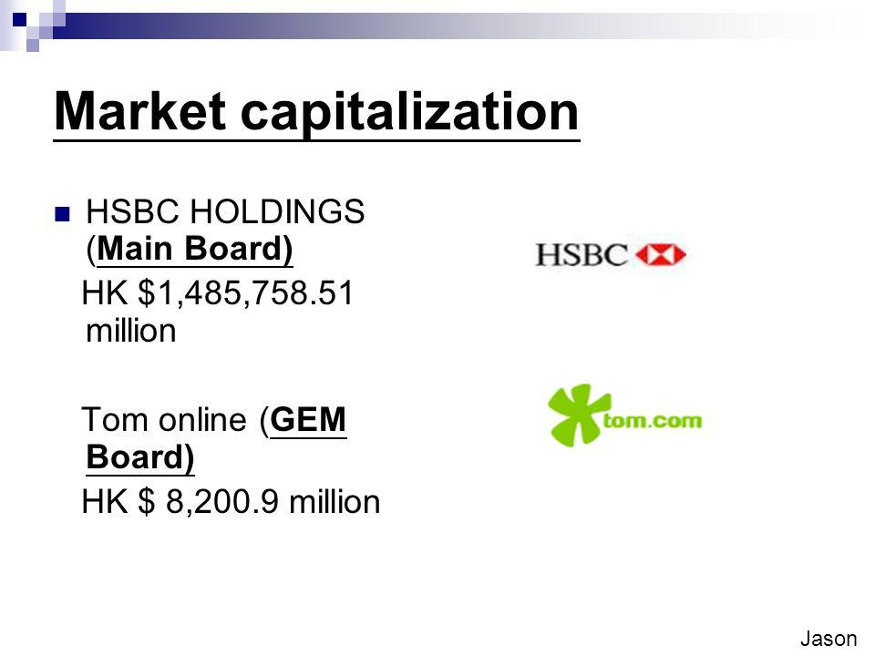 Market capitalization HSBC HOLDINGS (Main Board) HK $1,485,758.51 million Tom online (GEM Board) HK $ 8,200.9 million Jason