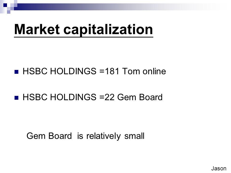 Market capitalization HSBC HOLDINGS =181 Tom online HSBC HOLDINGS =22 Gem Board Gem Board is relatively small Jason