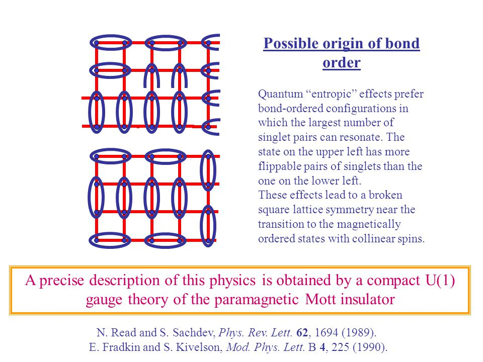 Possible origin of bond order Quantum entropic effects prefer bond-ordered configurations in which the largest number of singlet pairs can resonate.