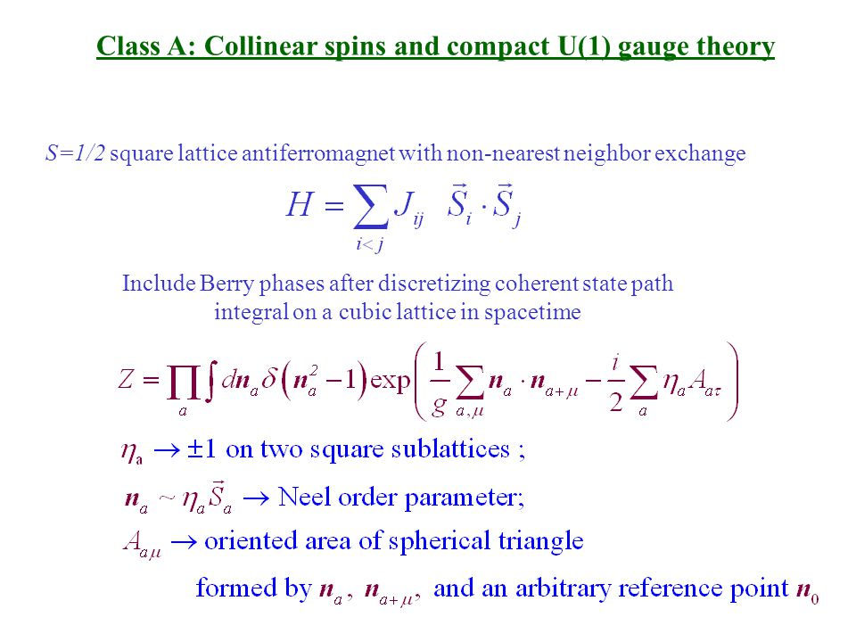 Class A: Collinear spins and compact U(1) gauge theory S=1/2 square lattice antiferromagnet with non-nearest neighbor exchange Include Berry phases after discretizing coherent state path integral on a cubic lattice in spacetime