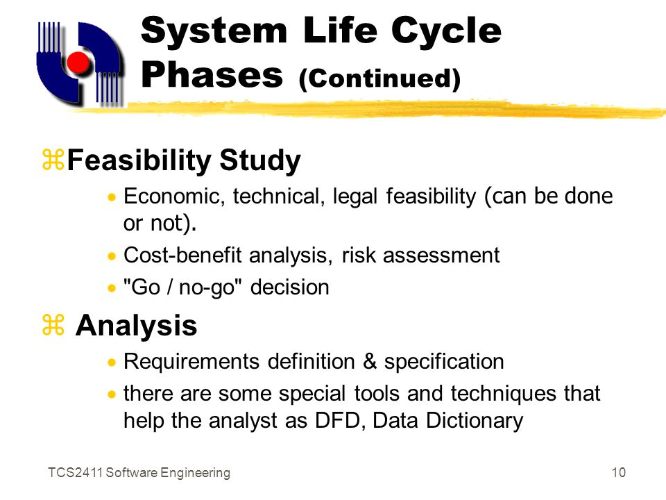 TCS2411 Software Engineering9 System Life Cycle Phases (Continued)  Determining the Requirements (Information and Tools)  Several tools are used to define IR in the business, sampling, investigating of hard data, interviewing, questionnaires, observing, prototyping.