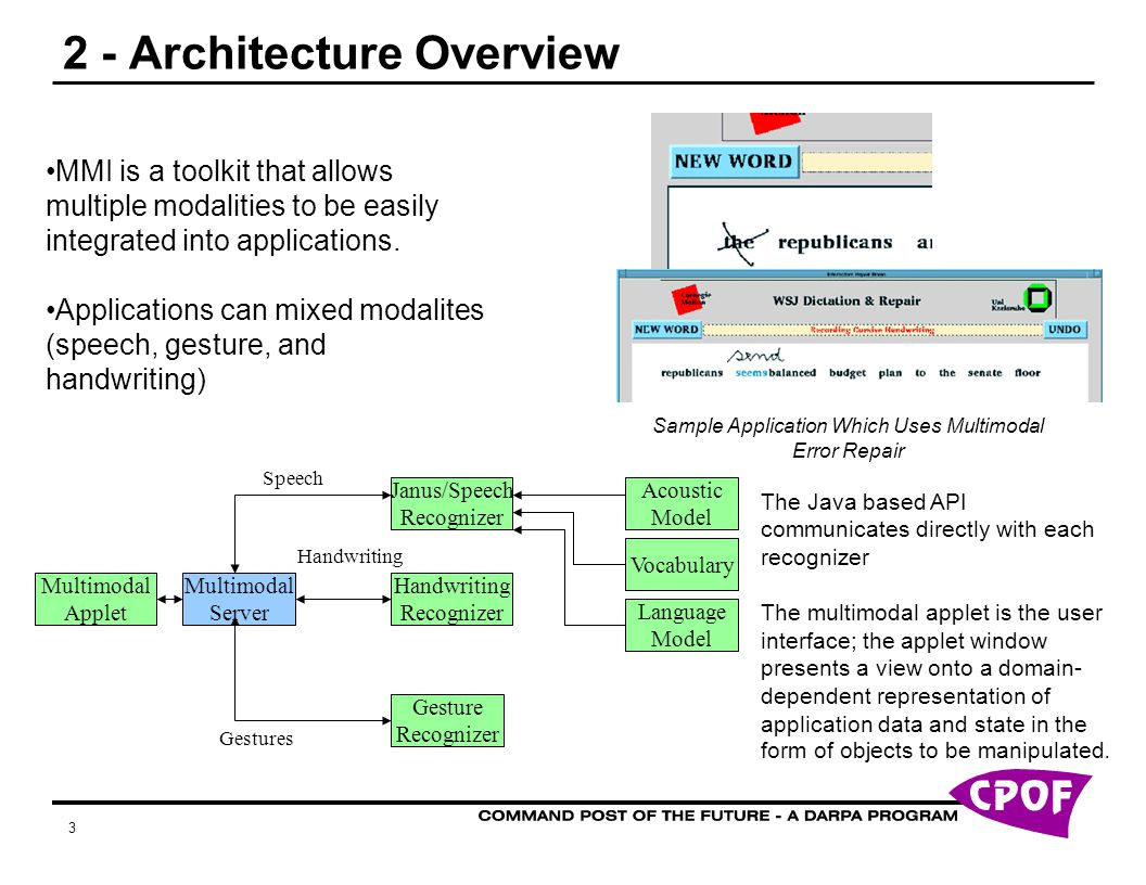 3 2 - Architecture Overview Multimodal Server Janus/Speech Recognizer Gestures Handwriting Recognizer Gesture Recognizer Handwriting Speech Vocabulary Acoustic Model Language Model MMI is a toolkit that allows multiple modalities to be easily integrated into applications.