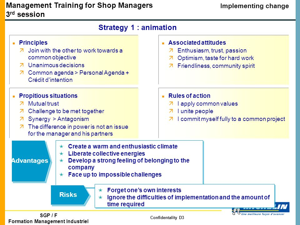 Management Training for Shop Managers 3 rd session Implementing change SGP / F Formation Management Industriel Confidentality D3 Strategy 1 : animation n Principles äJoin with the other to work towards a common objective äUnanimous decisions äCommon agenda > Personal Agenda + Crédit d intention n Associated attitudes äEnthusiasm, trust, passion äOptimism, taste for hard work äFriendliness, community spirit «Create a warm and enthusiastic climate «Liberate collective energies «Develop a strong feeling of belonging to the company «Face up to impossible challenges «Create a warm and enthusiastic climate «Liberate collective energies «Develop a strong feeling of belonging to the company «Face up to impossible challenges Advantages «Forget one's own interests «Ignore the difficulties of implementation and the amount of time required «Forget one's own interests «Ignore the difficulties of implementation and the amount of time required Risks n Propitious situations äMutual trust äChallenge to be met together äSynergy > Antagonism äThe difference in power is not an issue for the manager and his partners n Rules of action äI apply common values äI unite people äI commit myself fully to a common project