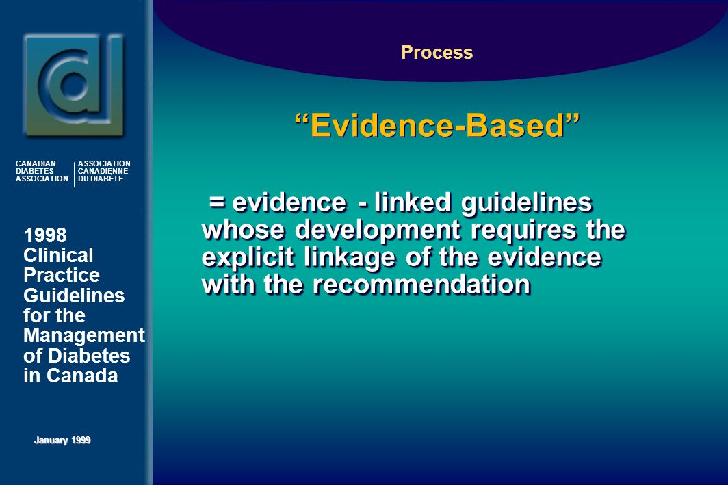 1998 Clinical Practice Guidelines for the Management of Diabetes in Canada January 1999 CANADIAN DIABETES ASSOCIATION ASSOCIATION CANADIENNE DU DIABÈTE Evidence-Based  = evidence - linked guidelines whose development requires the explicit linkage of the evidence with the recommendation Process