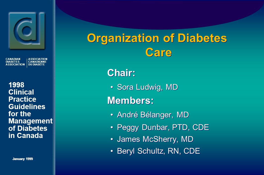 1998 Clinical Practice Guidelines for the Management of Diabetes in Canada January 1999 CANADIAN DIABETES ASSOCIATION ASSOCIATION CANADIENNE DU DIABÈTE Organization of Diabetes Care   Chair: Sora Ludwig, MD   Members: André Bélanger, MD Peggy Dunbar, PTD, CDE James McSherry, MD Beryl Schultz, RN, CDE   Chair: Sora Ludwig, MD   Members: André Bélanger, MD Peggy Dunbar, PTD, CDE James McSherry, MD Beryl Schultz, RN, CDE