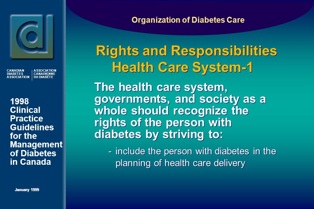 1998 Clinical Practice Guidelines for the Management of Diabetes in Canada January 1999 CANADIAN DIABETES ASSOCIATION ASSOCIATION CANADIENNE DU DIABÈTE Rights and Responsibilities Health Care System-1 Rights and Responsibilities Health Care System-1 The health care system, governments, and society as a whole should recognize the rights of the person with diabetes by striving to: -include the person with diabetes in the planning of health care delivery The health care system, governments, and society as a whole should recognize the rights of the person with diabetes by striving to: -include the person with diabetes in the planning of health care delivery Organization of Diabetes Care
