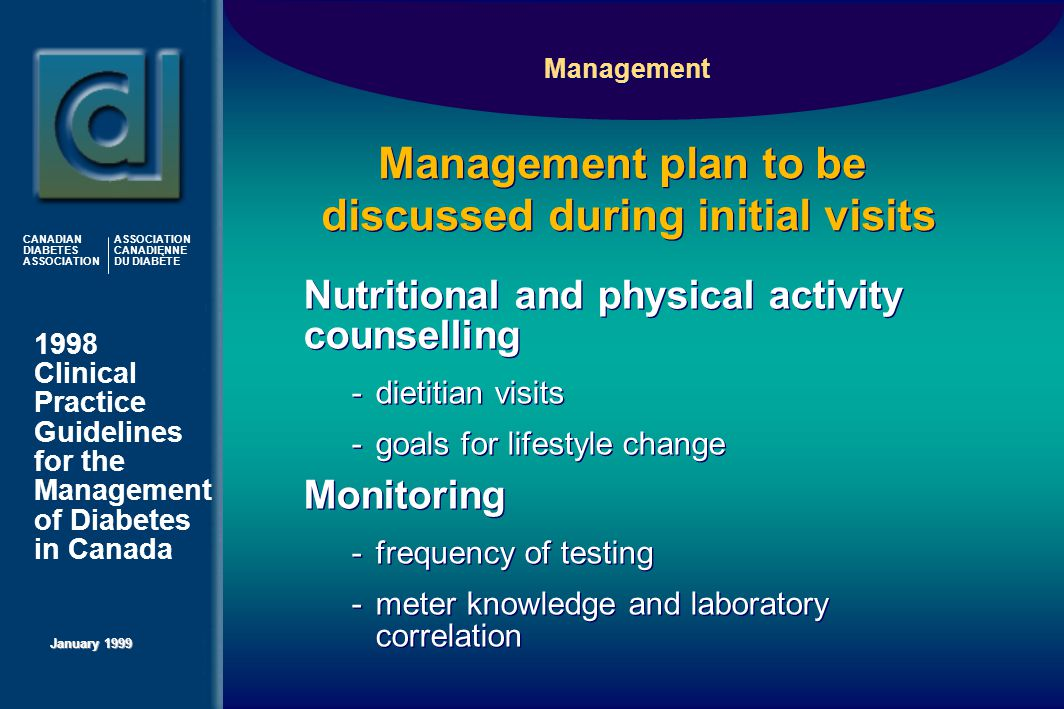 1998 Clinical Practice Guidelines for the Management of Diabetes in Canada January 1999 CANADIAN DIABETES ASSOCIATION ASSOCIATION CANADIENNE DU DIABÈTE Management plan to be discussed during initial visits Nutritional and physical activity counselling -dietitian visits -goals for lifestyle change Monitoring -frequency of testing -meter knowledge and laboratory correlation Nutritional and physical activity counselling -dietitian visits -goals for lifestyle change Monitoring -frequency of testing -meter knowledge and laboratory correlation Management