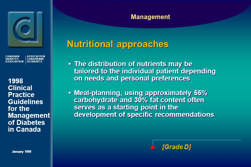 1998 Clinical Practice Guidelines for the Management of Diabetes in Canada January 1999 CANADIAN DIABETES ASSOCIATION ASSOCIATION CANADIENNE DU DIABÈTE The distribution of nutrients may be tailored to the individual patient depending on needs and personal preferences Meal-planning, using approximately 55% carbohydrate and 30% fat content often serves as a starting point in the development of specific recommendations The distribution of nutrients may be tailored to the individual patient depending on needs and personal preferences Meal-planning, using approximately 55% carbohydrate and 30% fat content often serves as a starting point in the development of specific recommendations [Grade D] Management Nutritional approaches