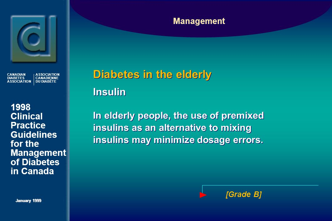 1998 Clinical Practice Guidelines for the Management of Diabetes in Canada January 1999 CANADIAN DIABETES ASSOCIATION ASSOCIATION CANADIENNE DU DIABÈTE Insulin In elderly people, the use of premixed insulins as an alternative to mixing insulins may minimize dosage errors.