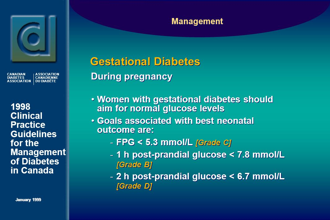 1998 Clinical Practice Guidelines for the Management of Diabetes in Canada January 1999 CANADIAN DIABETES ASSOCIATION ASSOCIATION CANADIENNE DU DIABÈTE Women with gestational diabetes should aim for normal glucose levels Goals associated with best neonatal outcome are:  FPG < 5.3 mmol/L [Grade C]  1 h post-prandial glucose < 7.8 mmol/L [Grade B]  2 h post-prandial glucose < 6.7 mmol/L [Grade D] Women with gestational diabetes should aim for normal glucose levels Goals associated with best neonatal outcome are:  FPG < 5.3 mmol/L [Grade C]  1 h post-prandial glucose < 7.8 mmol/L [Grade B]  2 h post-prandial glucose < 6.7 mmol/L [Grade D] During pregnancy Gestational Diabetes Management