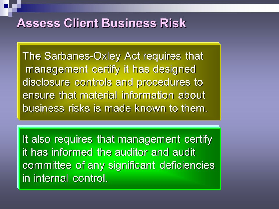 Assess Client Business Risk Client business risk is the risk that the client will fail to achieve its objectives.