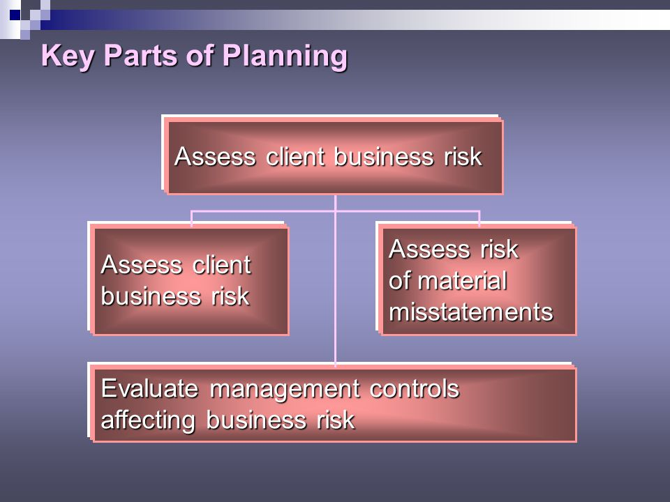 Key Parts of Planning Understand the client's business and industry Understand client's industry and external environment Understand client's operations, strategies, and performance system
