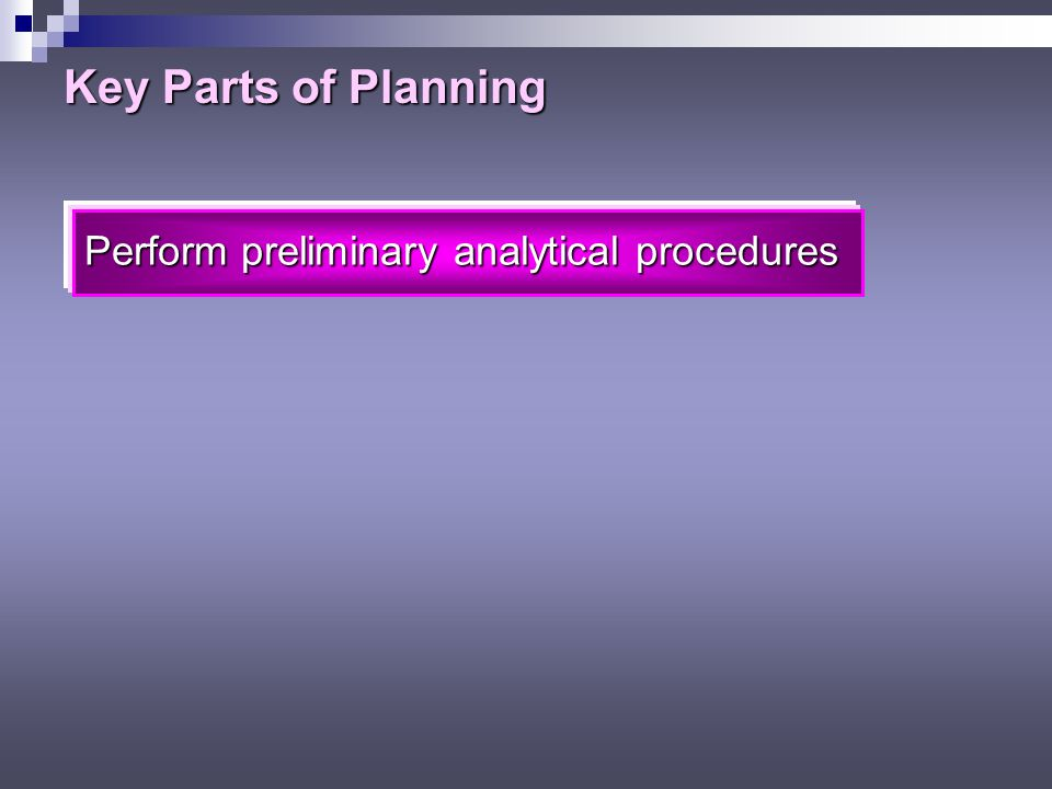 Key Parts of Planning Assess client business risk Assess client business risk Evaluate management controls affecting business risk Assess risk of material misstatements