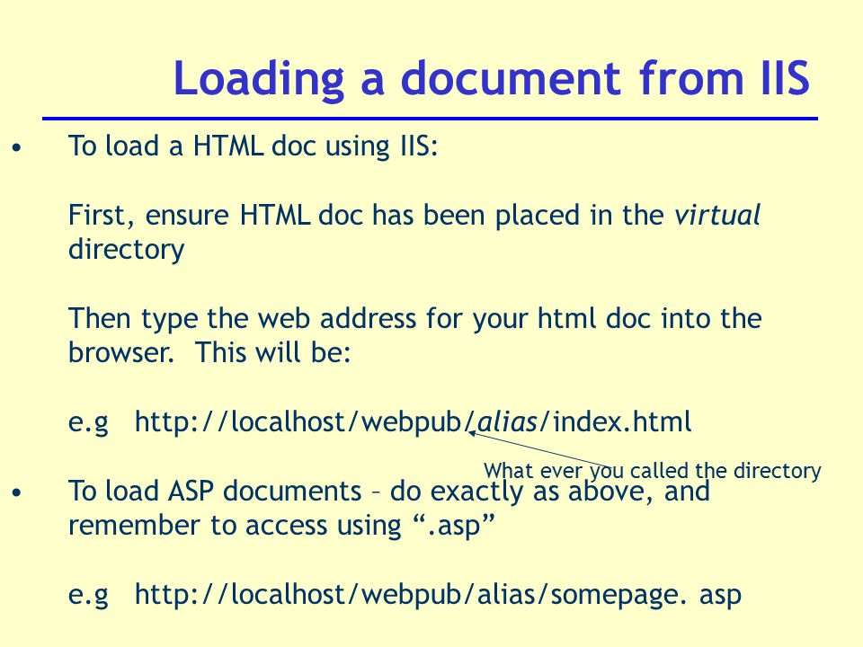Loading a document from IIS To load a HTML doc using IIS: First, ensure HTML doc has been placed in the virtual directory Then type the web address for your html doc into the browser.