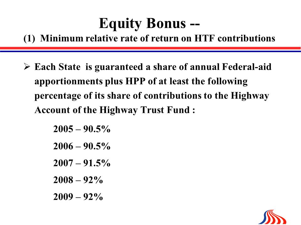 Equity Bonus -- (1) Minimum relative rate of return on HTF contributions  Each State is guaranteed a share of annual Federal-aid apportionments plus HPP of at least the following percentage of its share of contributions to the Highway Account of the Highway Trust Fund : 2005 – 90.5% 2006 – 90.5% 2007 – 91.5% 2008 – 92% 2009 – 92%