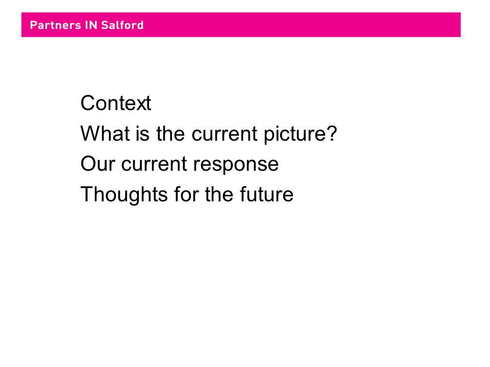 Context What is the current picture Our current response Thoughts for the future
