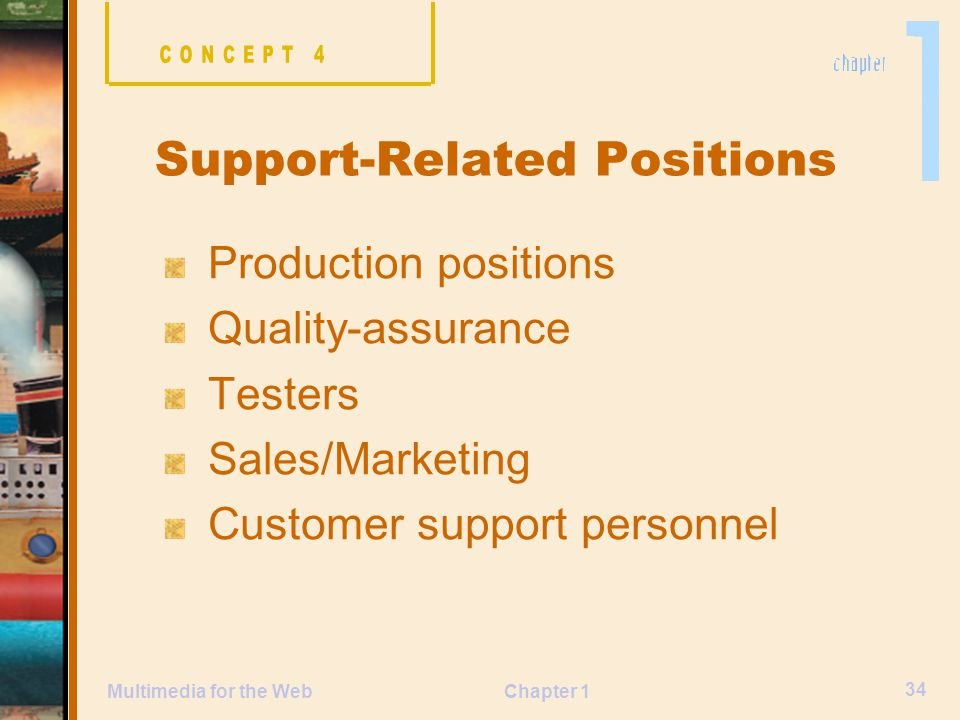 Chapter 1 34 Multimedia for the Web Production positions Quality-assurance Testers Sales/Marketing Customer support personnel Support-Related Positions