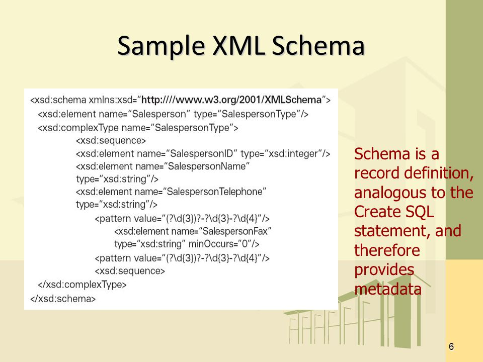 6 Sample XML Schema Schema is a record definition, analogous to the Create SQL statement, and therefore provides metadata