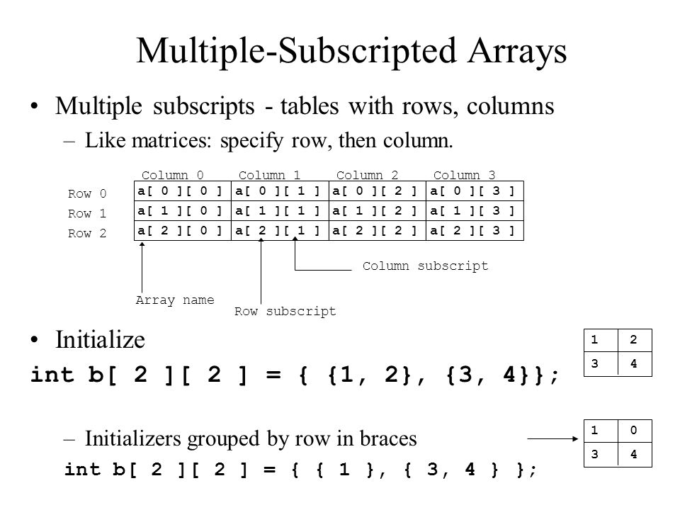 Multiple-Subscripted Arrays Multiple subscripts - tables with rows, columns –Like matrices: specify row, then column.