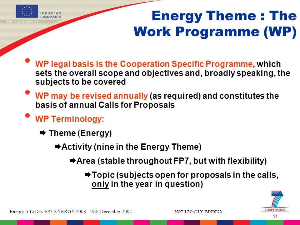 11 Energy Info Day FP7-ENERGY th December 2007 NOT LEGALLY BINDING Energy Theme : The Work Programme (WP) WP legal basis is the Cooperation Specific Programme, which sets the overall scope and objectives and, broadly speaking, the subjects to be covered WP may be revised annually (as required) and constitutes the basis of annual Calls for Proposals WP Terminology:  Theme (Energy)  Activity (nine in the Energy Theme)  Area (stable throughout FP7, but with flexibility)  Topic (subjects open for proposals in the calls, only in the year in question)