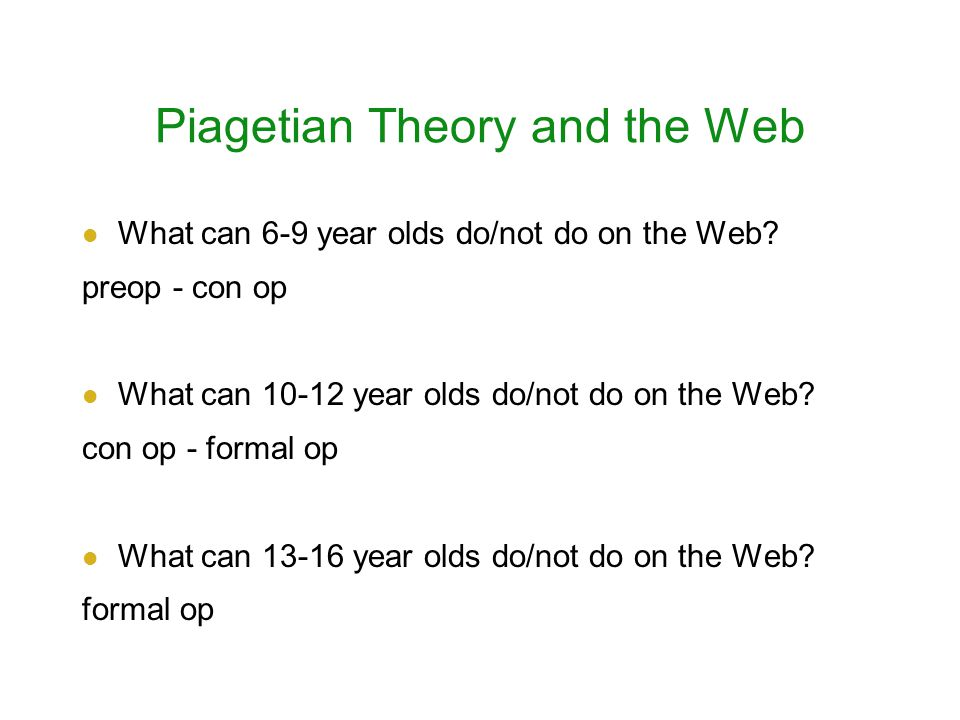 Piagetian Theory and the Web What can 6-9 year olds do/not do on the Web.