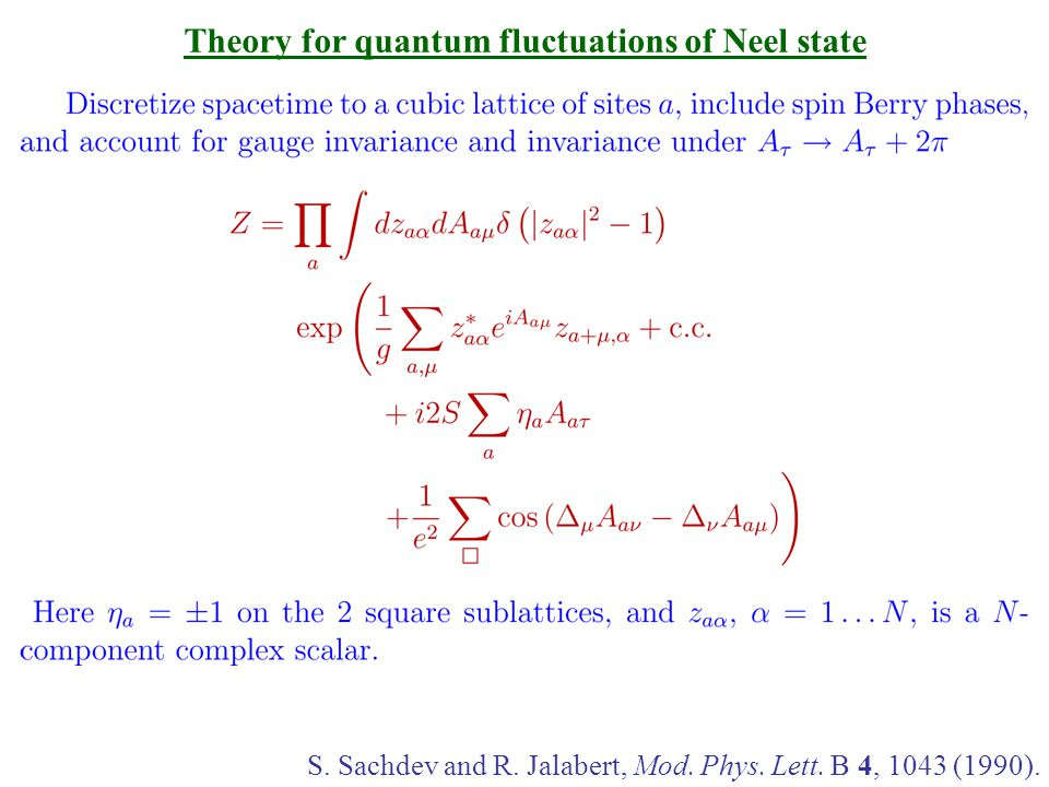 Theory for quantum fluctuations of Neel state S. Sachdev and R.