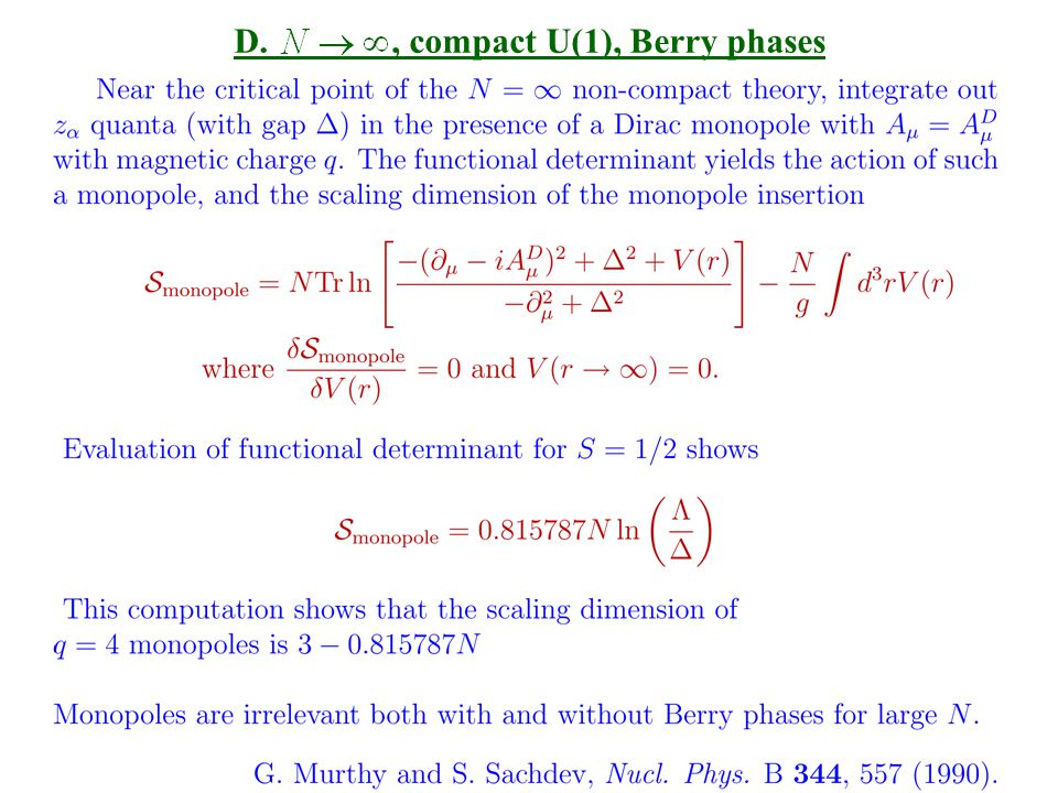 D., compact U(1), Berry phases