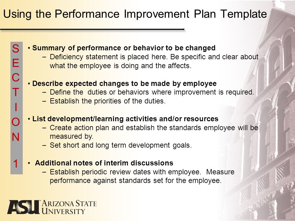 Arizona State University Performance Management Program Guidelines – Sample Employee Performance Improvement Plan Template