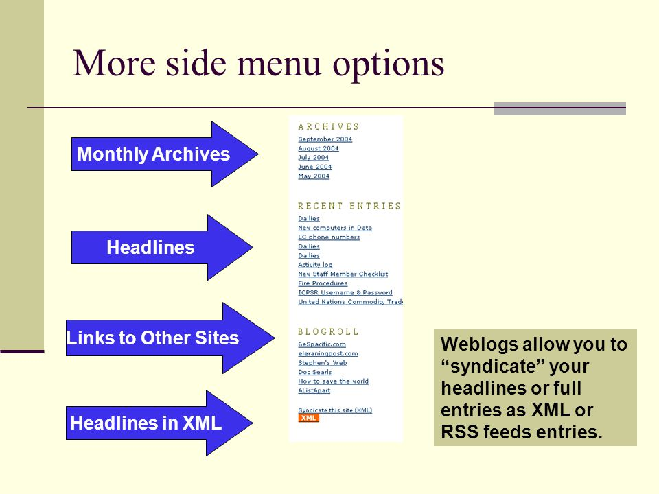 More side menu options Headlines Monthly Archives Links to Other Sites Headlines in XML Weblogs allow you to syndicate your headlines or full entries as XML or RSS feeds entries.