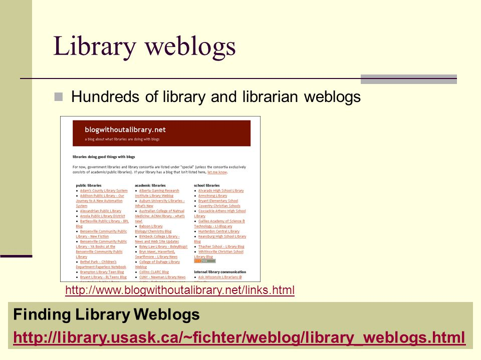 Library weblogs Hundreds of library and librarian weblogs Finding Library Weblogs