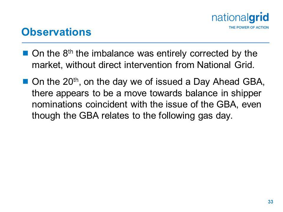 33 Observations  On the 8 th the imbalance was entirely corrected by the market, without direct intervention from National Grid.