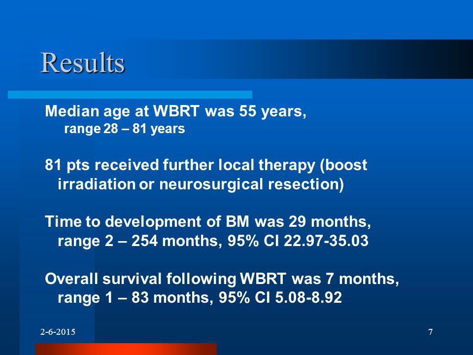 Results Median age at WBRT was 55 years, range 28 – 81 years 81 pts received further local therapy (boost irradiation or neurosurgical resection) Time to development of BM was 29 months, range 2 – 254 months, 95% CI Overall survival following WBRT was 7 months, range 1 – 83 months, 95% CI