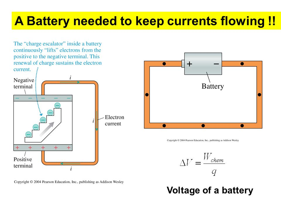 A Battery needed to keep currents flowing !! Voltage of a battery