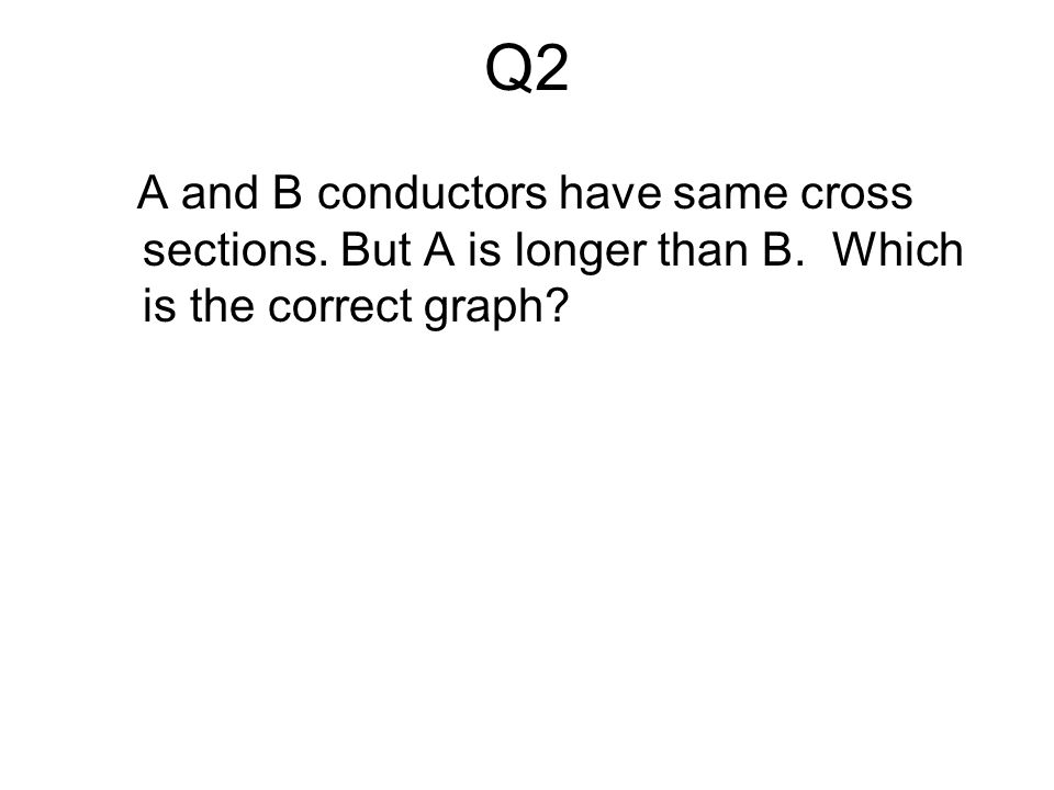 Q2 A and B conductors have same cross sections. But A is longer than B. Which is the correct graph