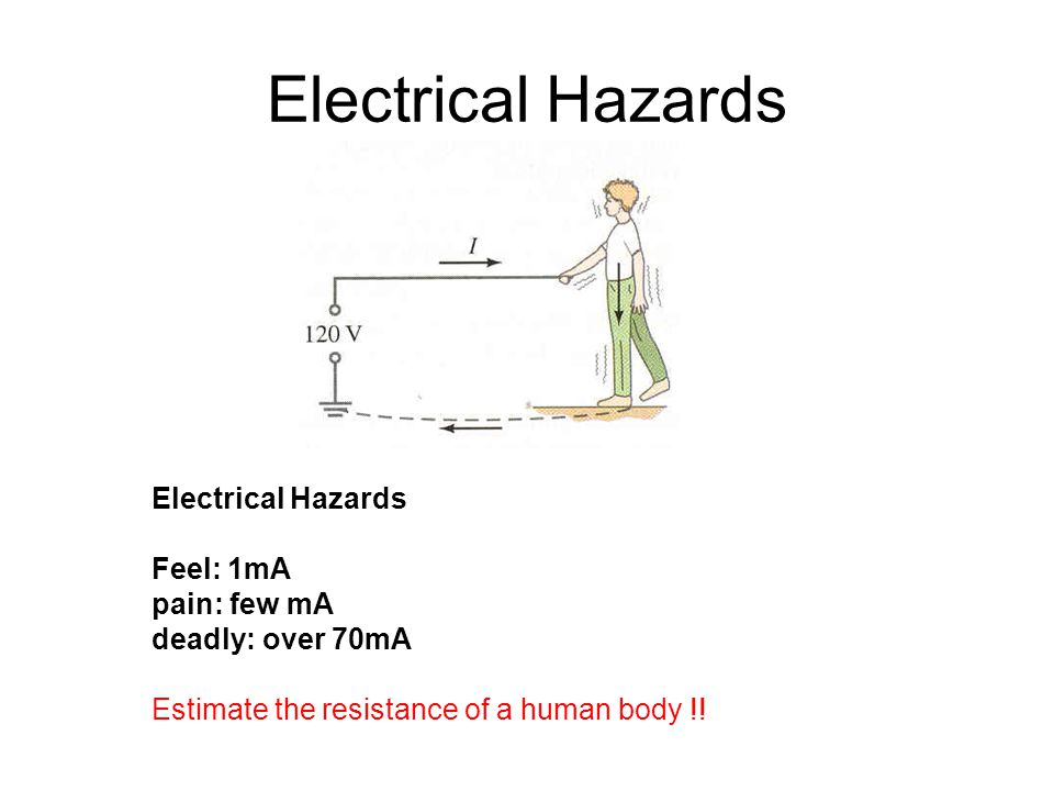 Electrical Hazards Feel: 1mA pain: few mA deadly: over 70mA Estimate the resistance of a human body !!