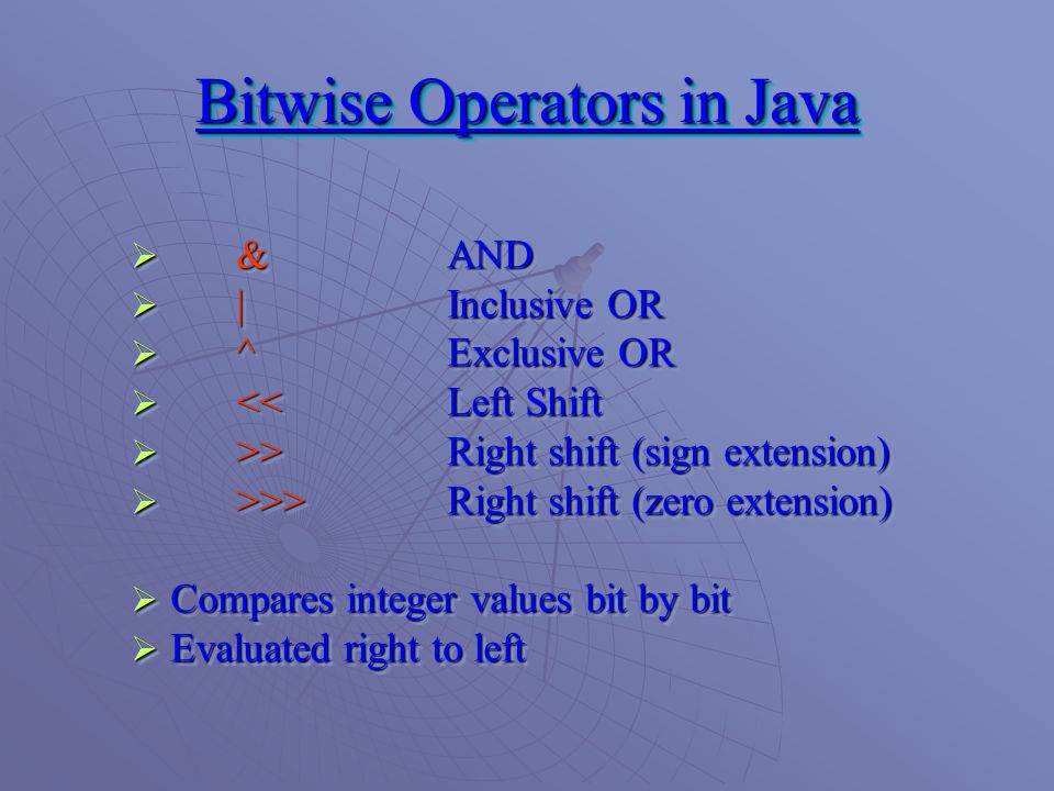 Bitwise Operators in Java  & AND  |Inclusive OR  ^Exclusive OR  <<Left Shift  >>Right shift (sign extension)  >>>Right shift (zero extension)  Compares integer values bit by bit  Evaluated right to left  & AND  |Inclusive OR  ^Exclusive OR  <<Left Shift  >>Right shift (sign extension)  >>>Right shift (zero extension)  Compares integer values bit by bit  Evaluated right to left