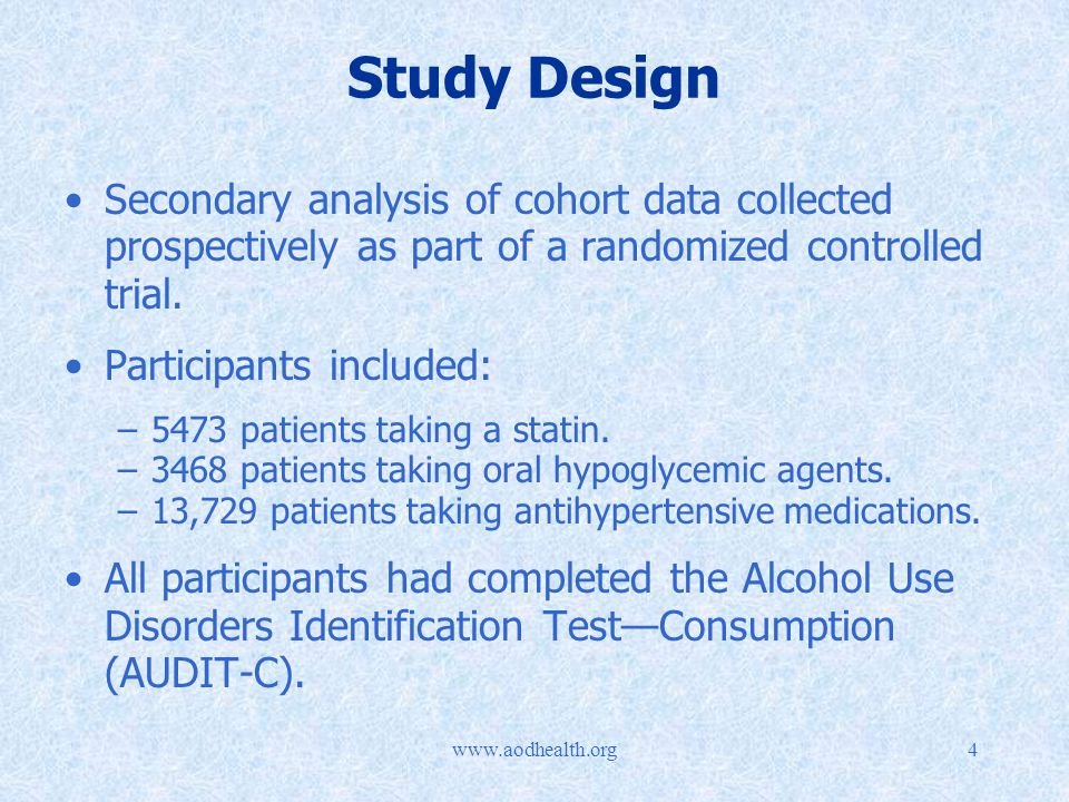 Study Design Secondary analysis of cohort data collected prospectively as part of a randomized controlled trial.