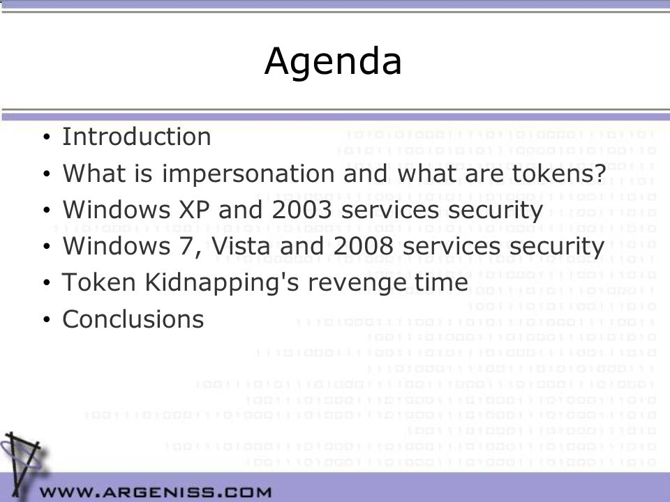 Agenda Introduction What is impersonation and what are tokens.