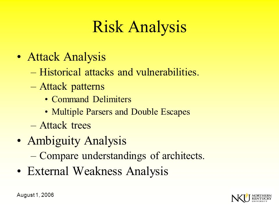 August 1, 2006 Risk Analysis Attack Analysis –Historical attacks and vulnerabilities.