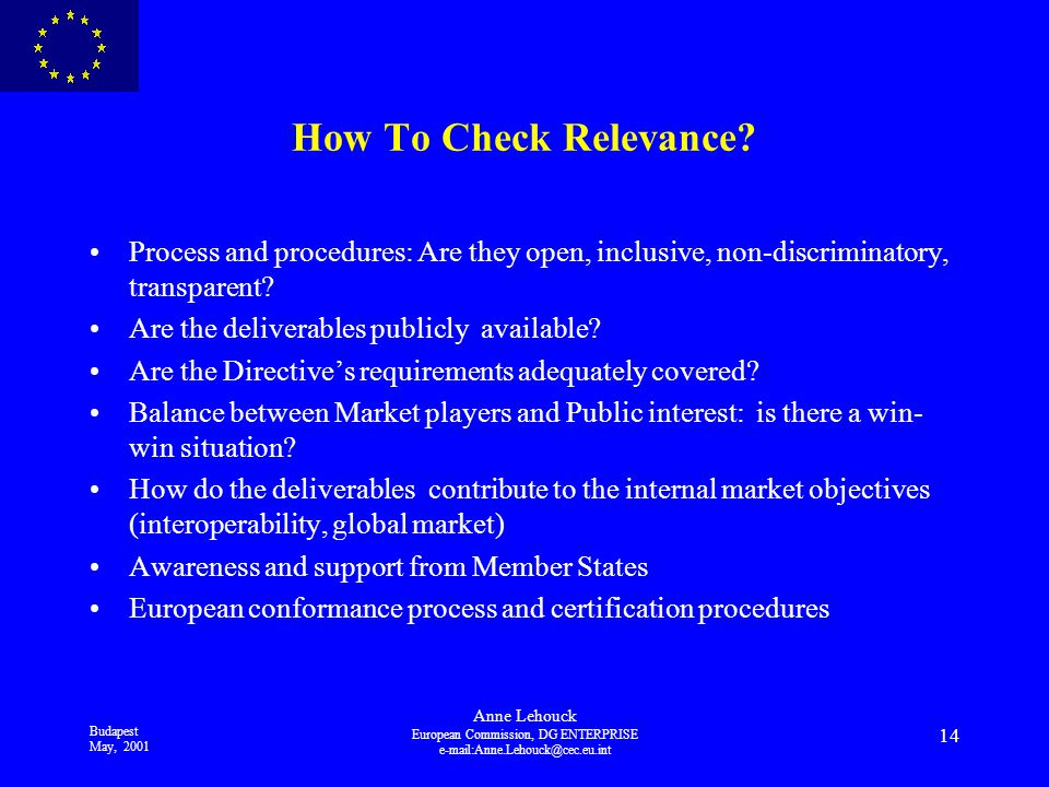 Budapest May, 2001 Anne Lehouck European Commission, DG ENTERPRISE 14 How To Check Relevance.