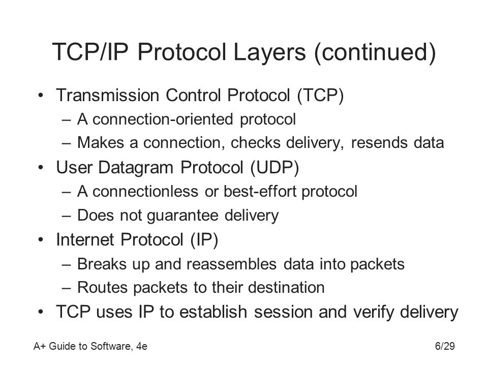 A+ Guide to Software, 4e TCP/IP Protocol Layers (continued) Transmission Control Protocol (TCP) –A connection-oriented protocol –Makes a connection, checks delivery, resends data User Datagram Protocol (UDP) –A connectionless or best-effort protocol –Does not guarantee delivery Internet Protocol (IP) –Breaks up and reassembles data into packets –Routes packets to their destination TCP uses IP to establish session and verify delivery 6/29