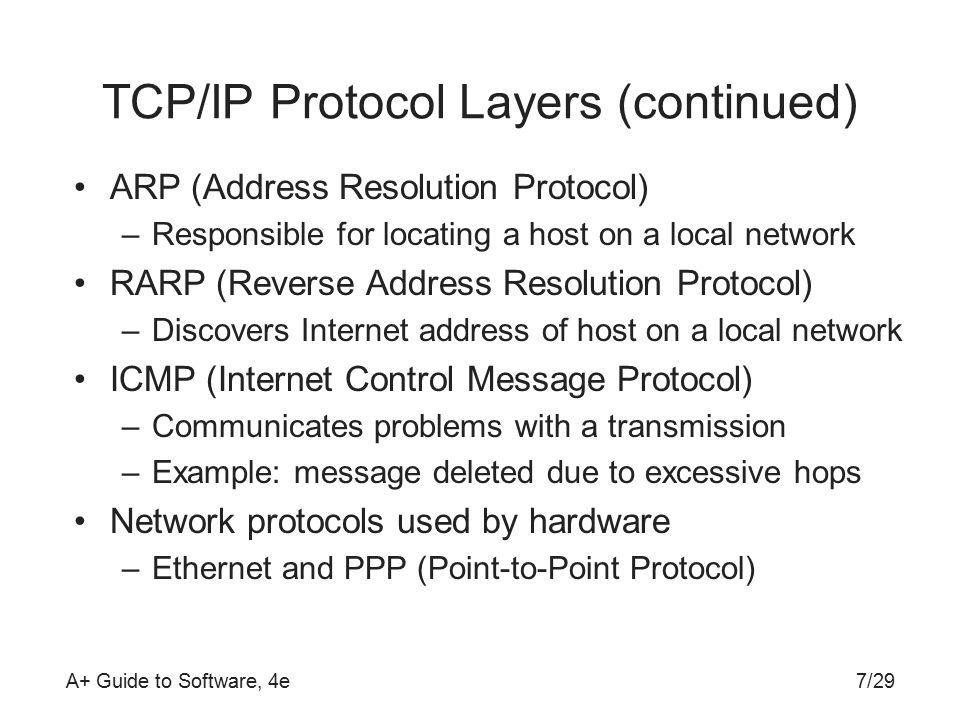 A+ Guide to Software, 4e TCP/IP Protocol Layers (continued) ARP (Address Resolution Protocol) –Responsible for locating a host on a local network RARP (Reverse Address Resolution Protocol) –Discovers Internet address of host on a local network ICMP (Internet Control Message Protocol) –Communicates problems with a transmission –Example: message deleted due to excessive hops Network protocols used by hardware –Ethernet and PPP (Point-to-Point Protocol) 7/29